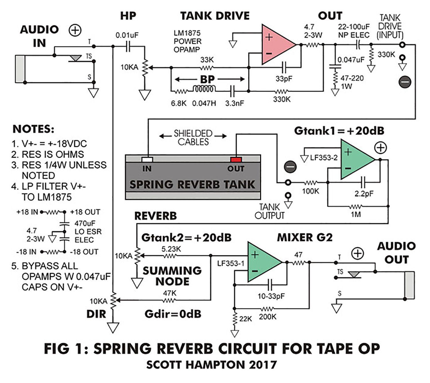 Walkthrough For Designing Homemade Electromechanical Spring Reverbs Schematic