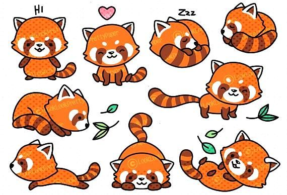 Haut de gamme Vector Clipart Kawaii rouge Pandas mignonYou can find Red pandas and more on our webs
