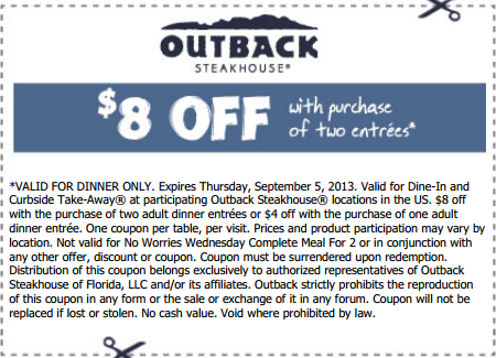 graphic about Outback Coupons Printable titled OUTBACK $8 OFF With buy of 2 entrees. Legitimate for