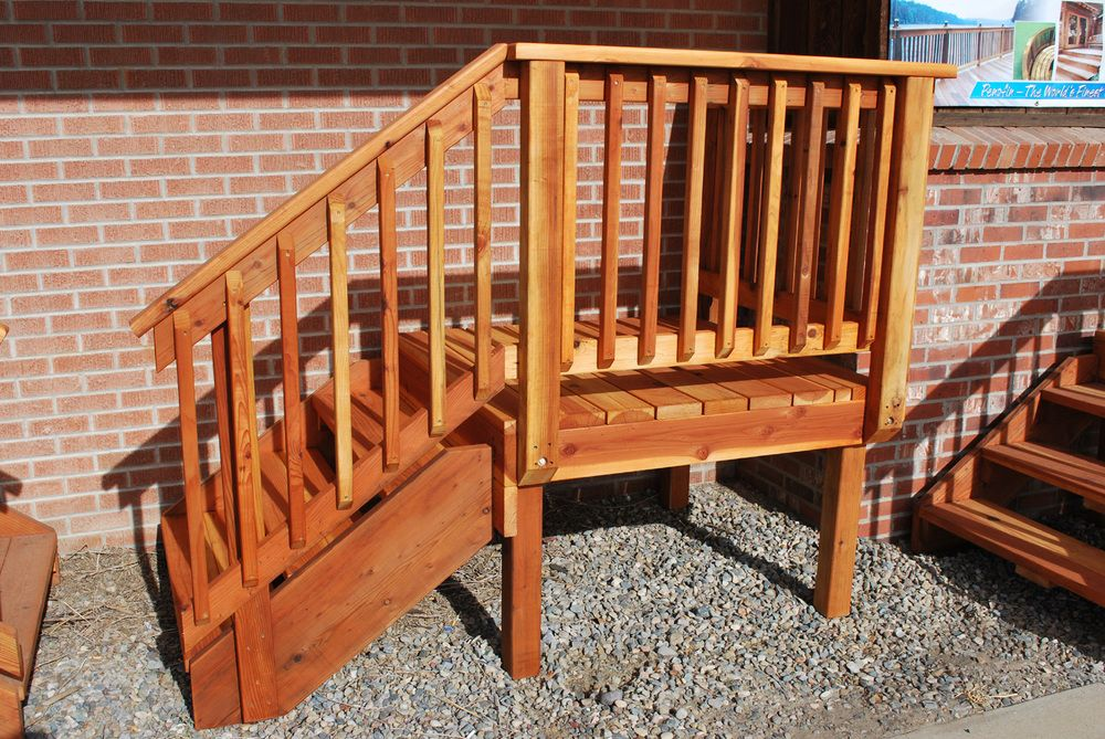Best Redwood Pre Built Decks In 2019 Exterior Stair Railing Deck Steps Concrete Stairs 400 x 300
