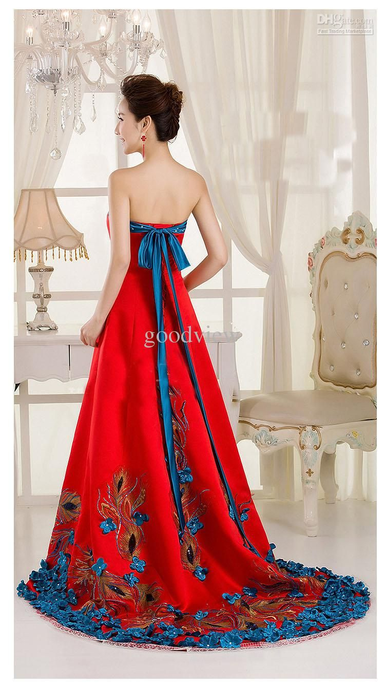 Silk and taffeta chinese cheongsam wedding dress red elegant women