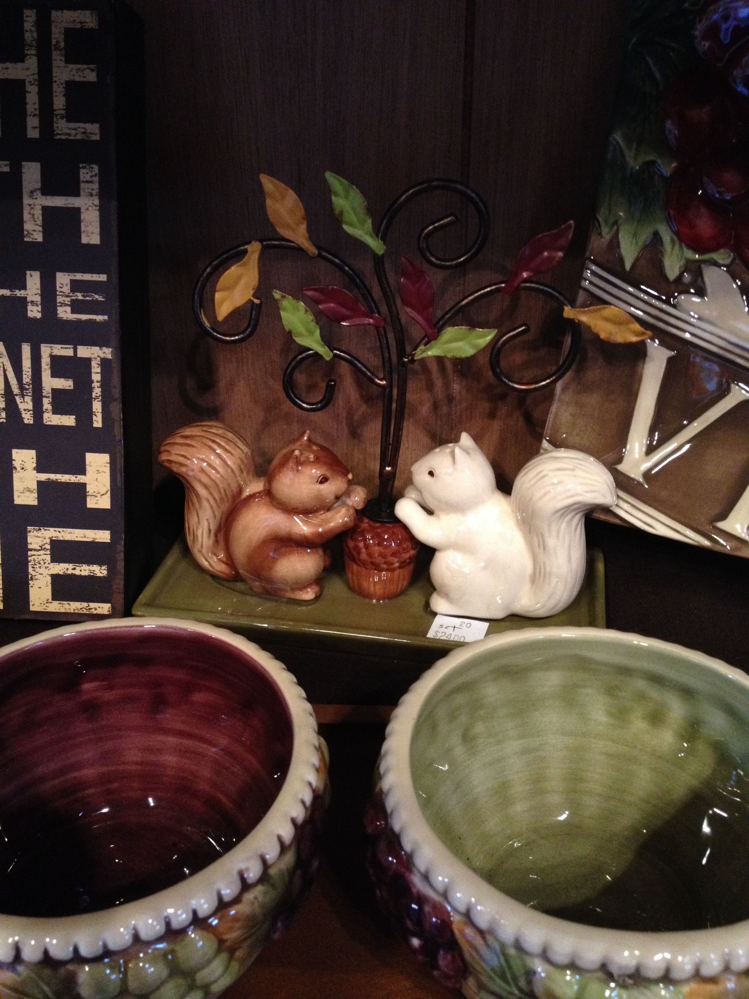 Squirrel salt and pepper shakers fall home decorations Halloween decorations