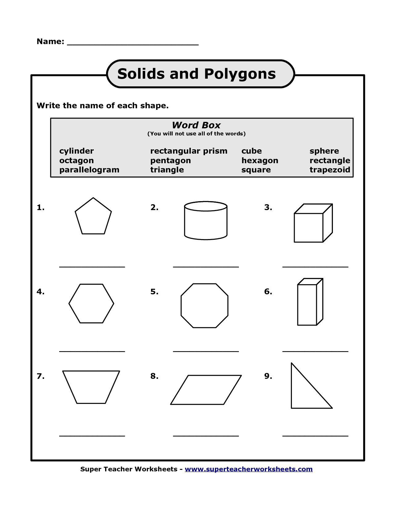 worksheet Properties Of Polygons Worksheet names of polygons scope work template things for kids template