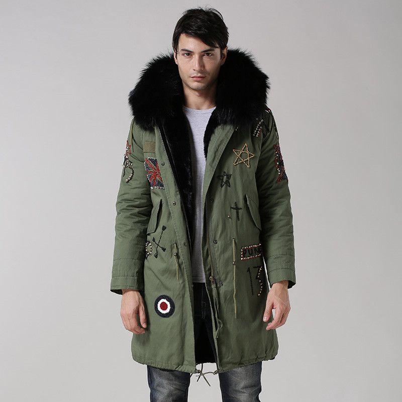 UK style armee grün mantel schwarz innen lange jacke real big ...