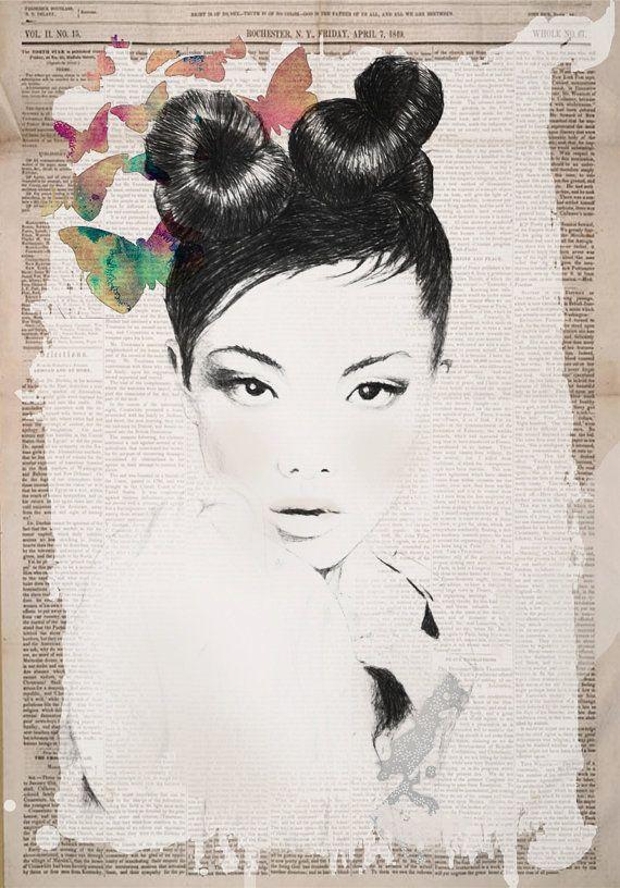 Jardin Fashion Illustration Art Print by InkBijou on Etsy