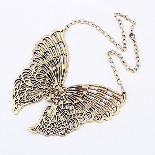 Wholesale Delicate Chic Style Openwork Huge Butterfly Shape Pendant Necklace For Women (AS THE PICTURE), Necklaces - Rosewholesale.com