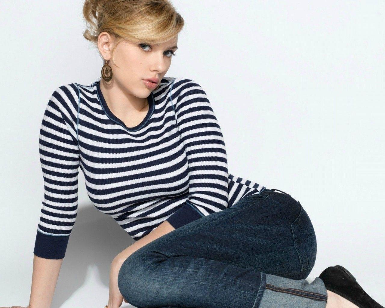 Blondes Women Jeans Scarlett Johansson Actress Celebrity