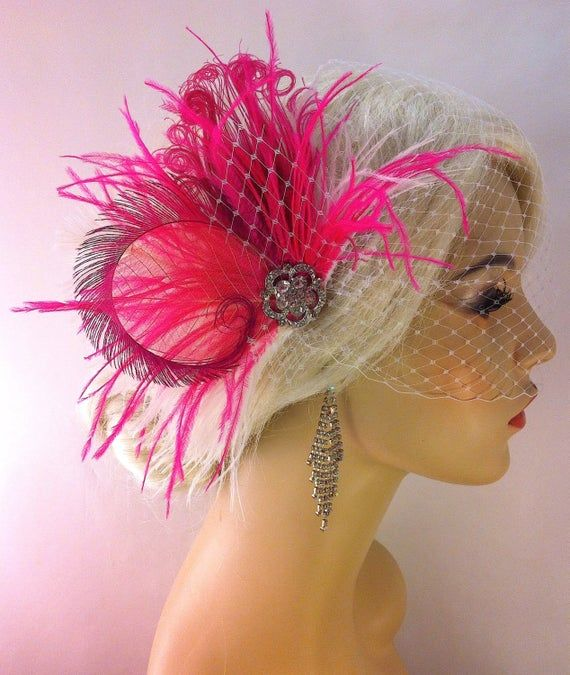 Bridal Hair Clip, Bridal Feather Fascinator, Hot Pink and White, Wedding Veil, Wedding Fascinator, F #fascinatorstyles