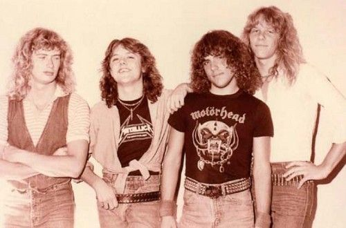 The Original Members Of Metallica Left To Right Dave Mustaine Lars Ulrich Ron Mcgovney James Papa Het Hetfield Metallica Dave Mustaine Thrash Metal
