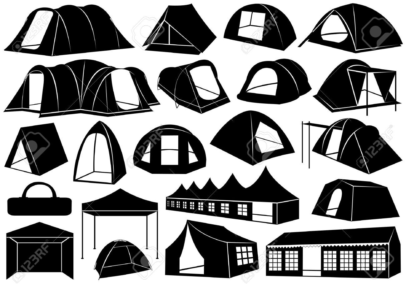 15687163-Set-of-tents-isolated-on-white-Stock-Vector-tent ...