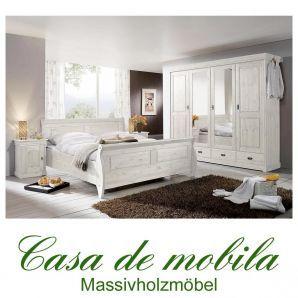Massivholz Schlafzimmer komplett Kiefer massiv weiss ROLAND Landhaus ...