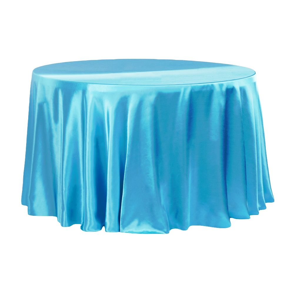 Satin 120 Round Tablecloth Aqua Blue Old Metal Chairs Round