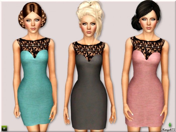 Sandro Pearl & Lace Dress by Margeh75 - Sims 3 Downloads CC Caboodle