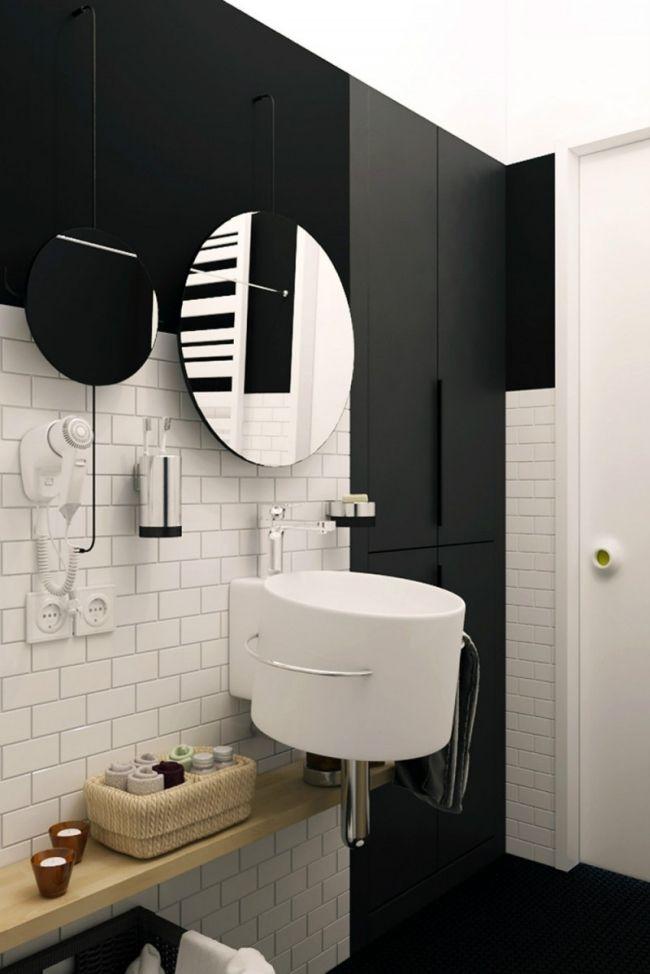 Kleines Bad Design Rundes Waschbecken Schwarz Weiss Holz Regal