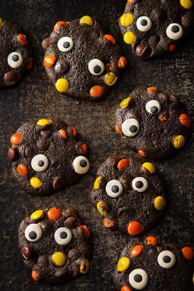 Double Chocolate Monster Halloween Cookies - 17 Halloween Cookies That Will Give You Chills and Thrills