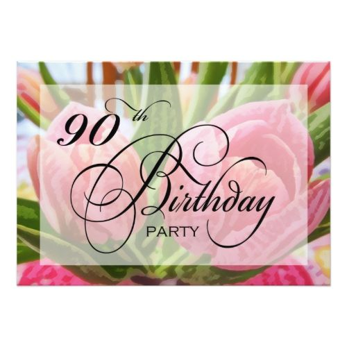 Floral Tulip 90th Birthday Party Invitation 90th birthday parties