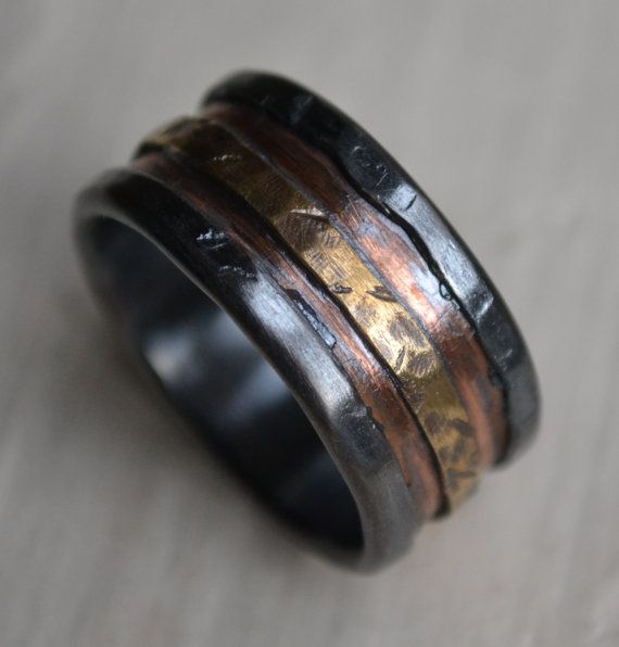 Mens Wedding Band Rustic Fine Silver Copper And Br Handmade Designed Wide Ring Manly Customized