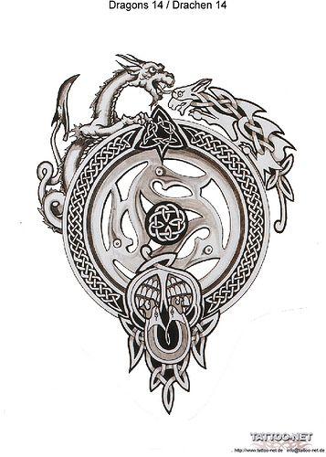 masculine feminine dragons w celtic knotwork round a dreamcatcher circle ink me pinterest. Black Bedroom Furniture Sets. Home Design Ideas