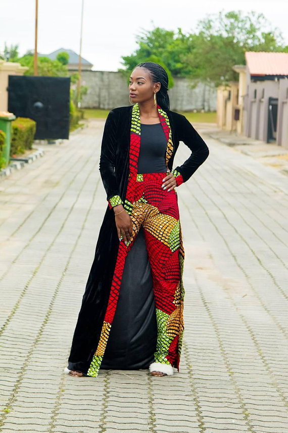 6a79f9a909a66 The Nelo Set  Ankara Pants and Kimono Jacket. The Nelo Set  Ankara Pants  and Kimono Jacket African Attire