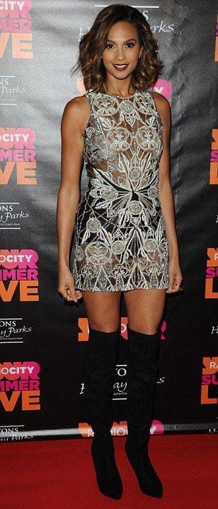 Braless Alesha Dixon in see-through dress at Radio City ...