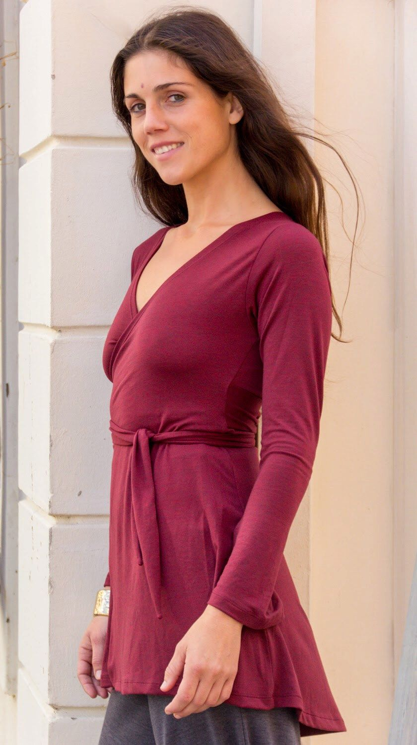 GIFT Bordeaux Womens Winter Wrap Top Burgundy Women Winter Tunic with V neck V Top Burgundy Top Gray Tunic by AlexWomenCreations on Etsy https://www.etsy.com/listing/210852987/gift-bordeaux-womens-winter-wrap-top
