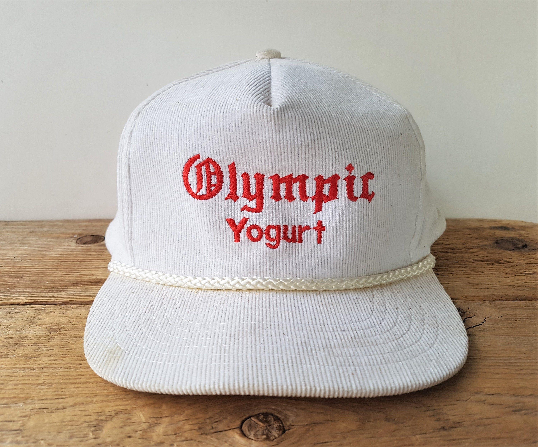 Olympic Yogurt Vintage 90s White Corduroy Snapback Hat Etsy White Corduroy Hats Vintage Cap