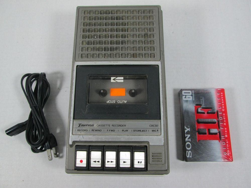Vintage Emerson Cassette Recorder Tape Player Model Crc97