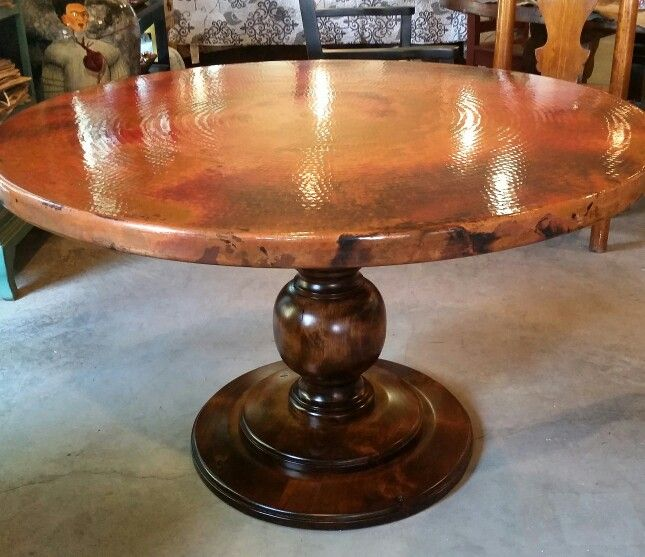Copper Round Dining Table Copper Table Copper Top Table Dining Table
