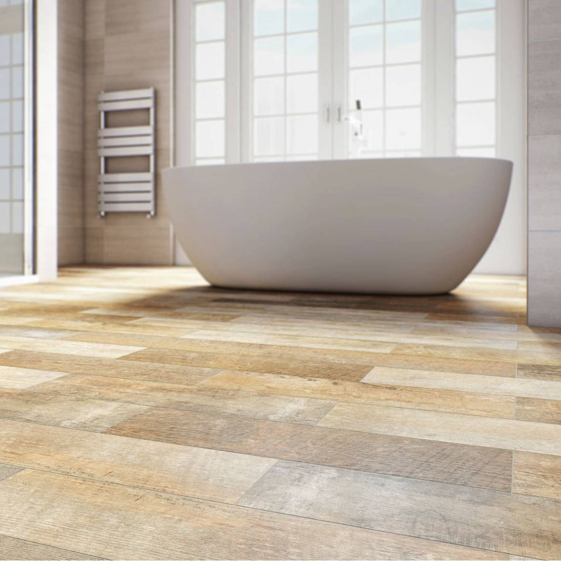 Fuse a contemporary style statement bath with upscaled wood style ...