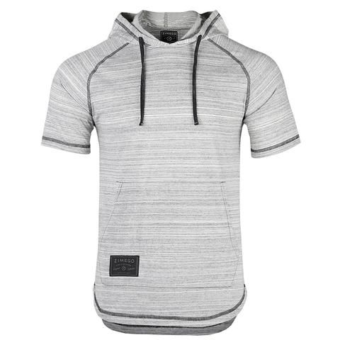 f1665be9f3bf ZIMEGO Men s Short Sleeve Raglan Hoodie Round Bottom Semi Longline T-Shirt