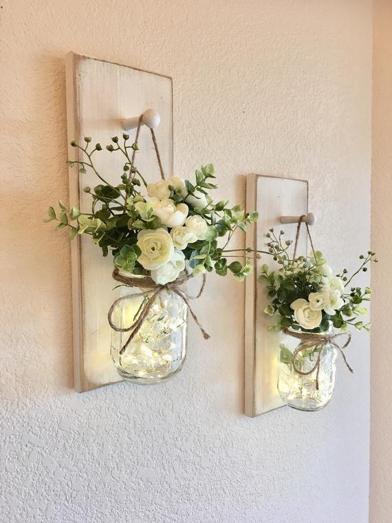 Photo of Home decor, mason jar wall lamp, mason jar decor, farmhouse wall decor, rustic …