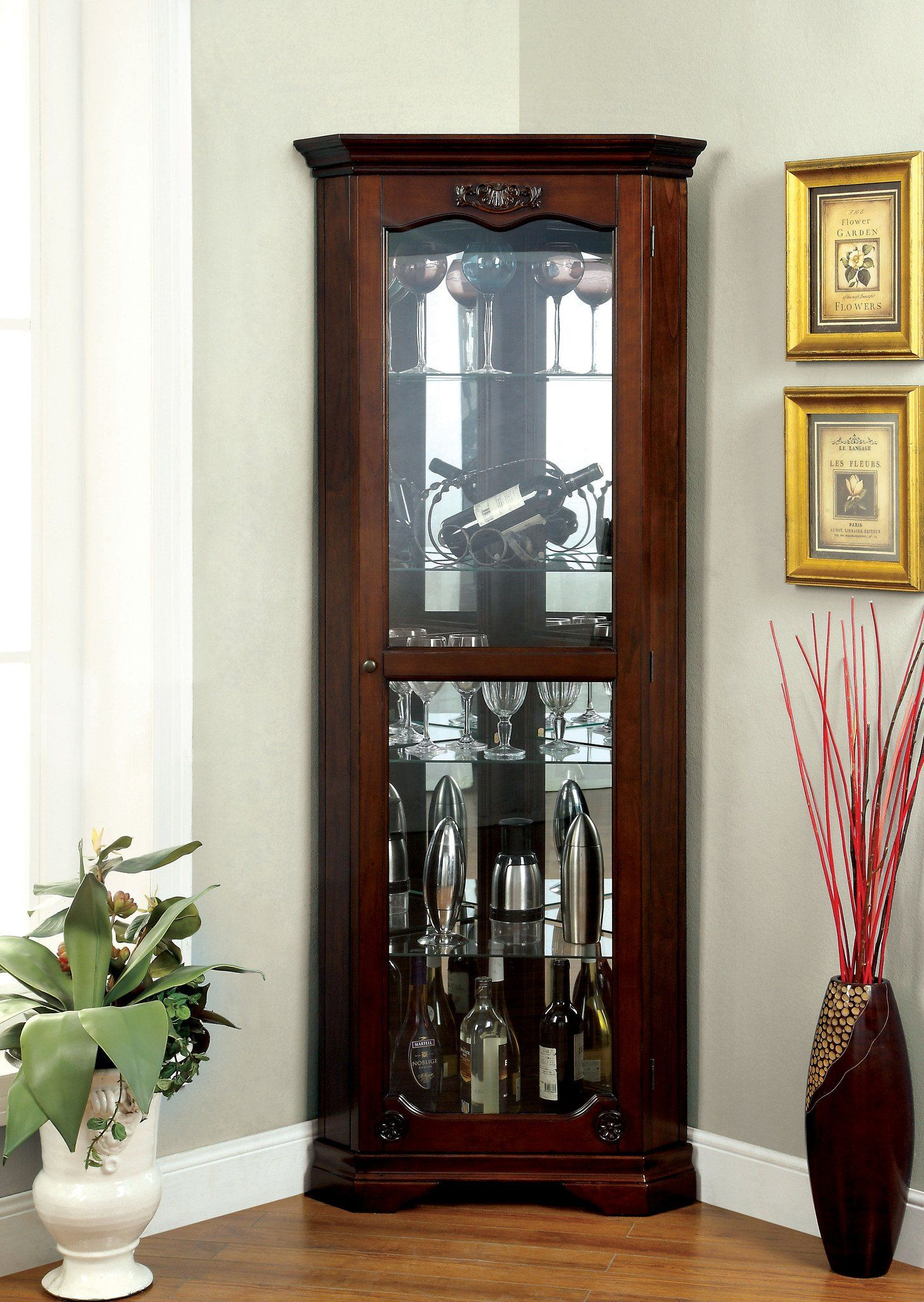 Enitial Lab Jovian Traditional Curio Cabinet in Walnut Finish