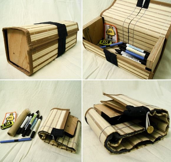 Man Crafts Collapsible Box From Bamboo Placemat Man Crafts