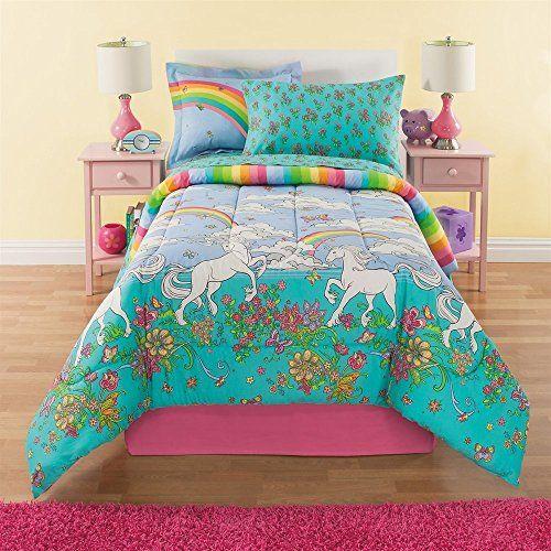 Kids Comforter Sets 6 Piece Girls Unicorn Rainbow Comforter Set