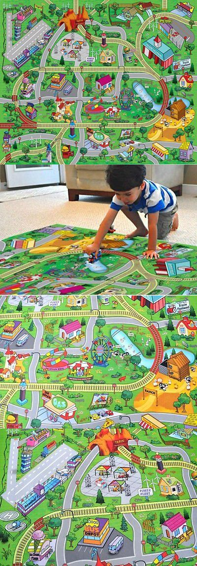 Square Area Rugs Wooden and Handcrafted Toys Large Town Airport Train Track Street Road Play Mat Car