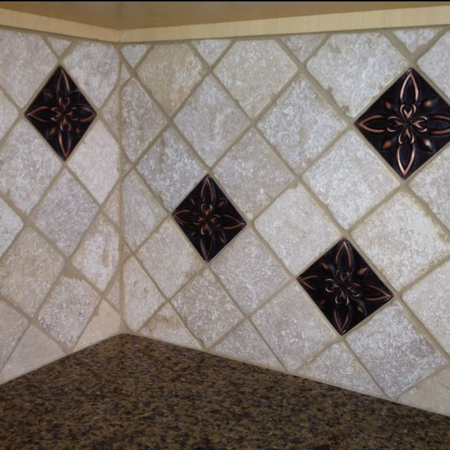 Client S Backsplash 4x4 Travertine Field Tile And 4x4 Bronze Metallic Accent Tile Glass Tile Backsplash Kitchen Glass Tile Backsplash Slate Backsplash