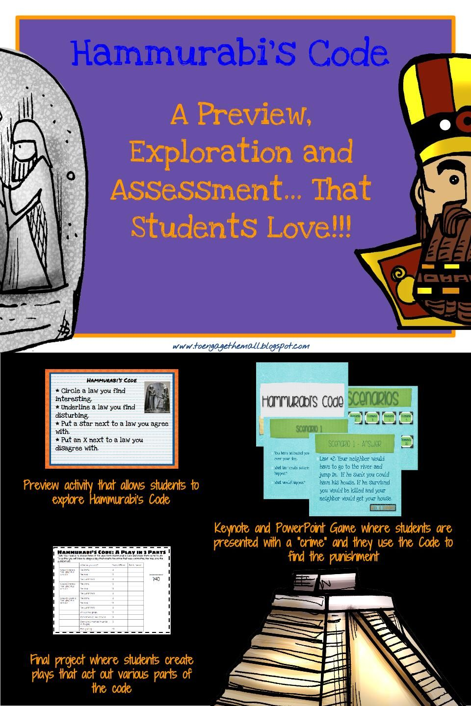 Mesopotamia And Hammurabi Code Launch Game And Project 6th Grade Social Studies Social Studies Middle School Middle School