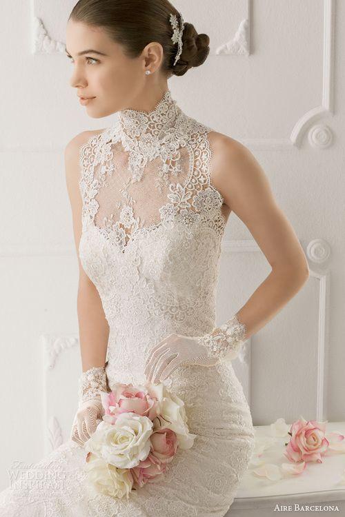 Mandarin collar lace wedding dress