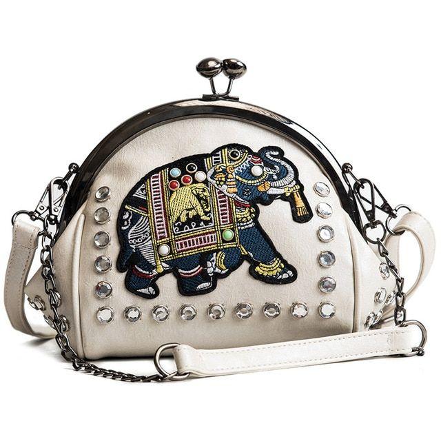 Women's diamond decoration shoulder bag shell chain bags elephant pattern embroidery hotsale party bag women's messenger bag #chainbags