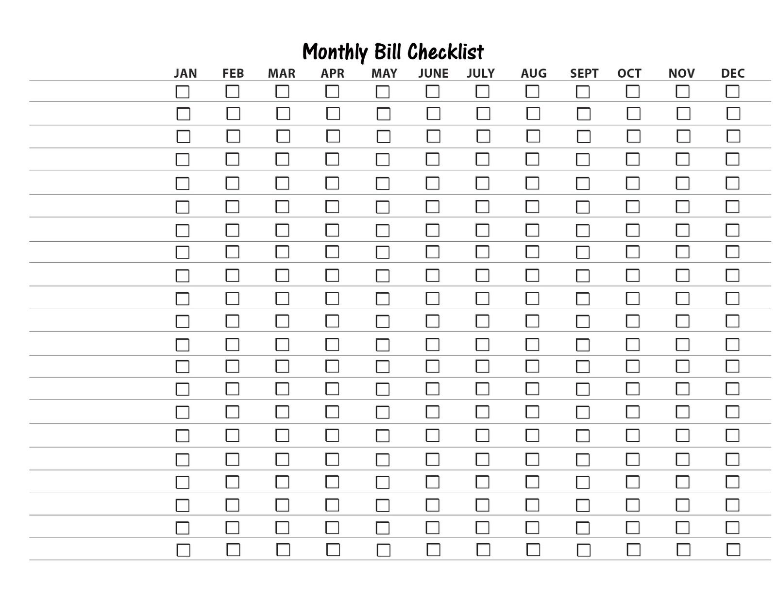 Free Printable Bill Payment List