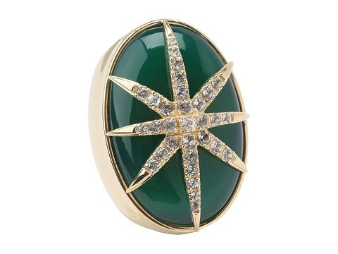 Elizabeth and James Northern Star Large Oval Cabochon Ring with White Topaz