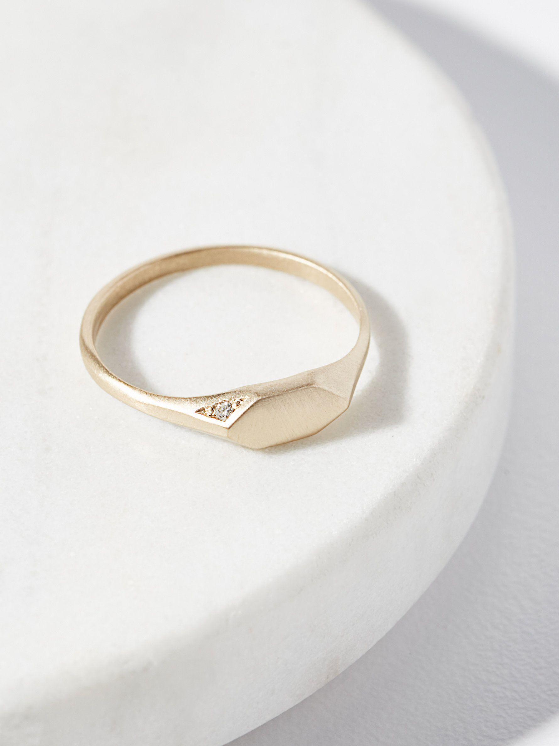 14k Pave Diamond Signet Ring