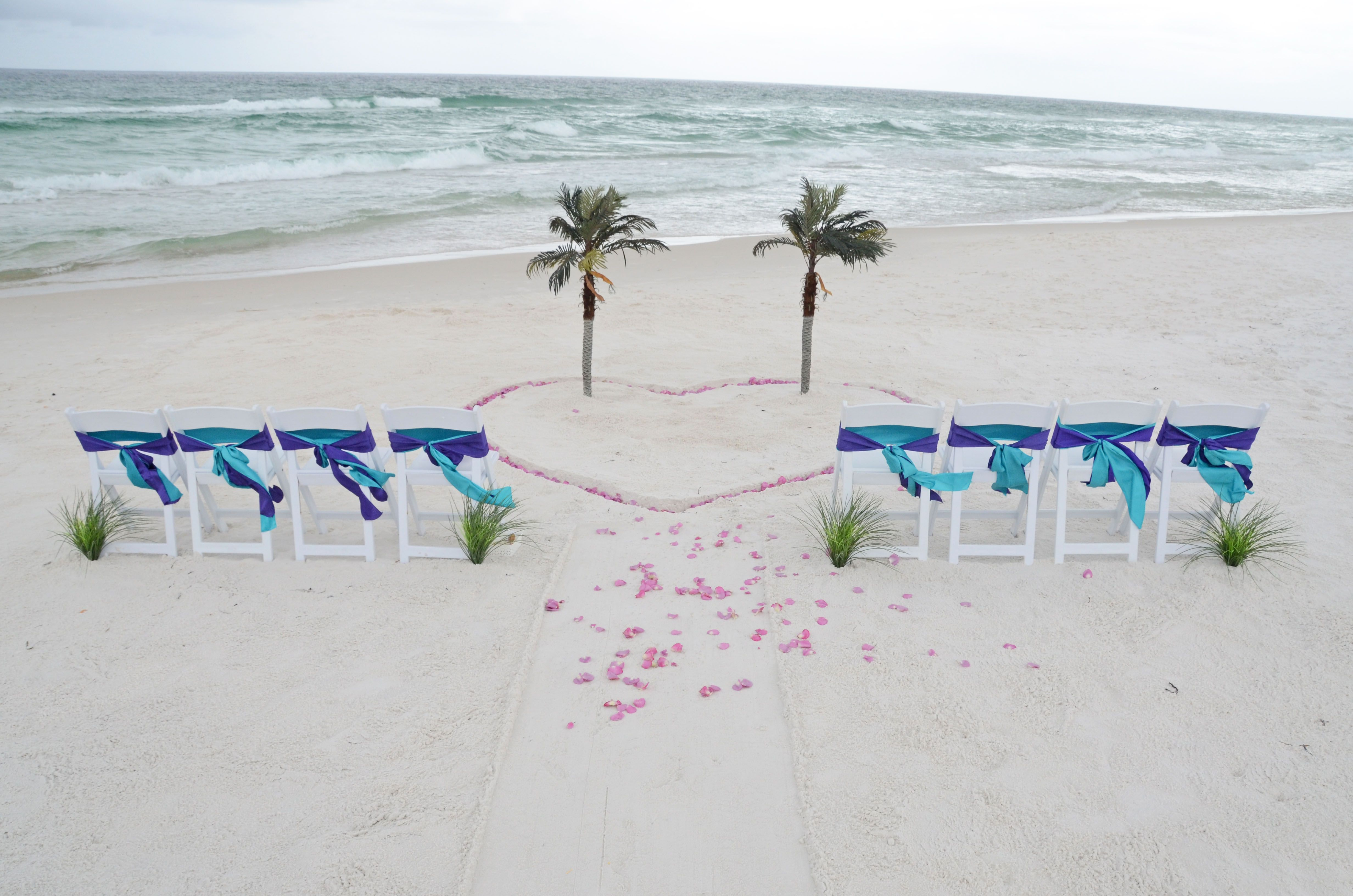 Simple Beach Set Up Palm Trees In A Heart Of Rose Petals Panama City Florida Destination Wedding St Andrew S State Park