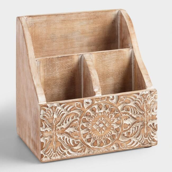 Mini Hand Carved Wood Gianna Desk Organizer Wooden Desk Organizer Desk Organization Hand Carved Wood