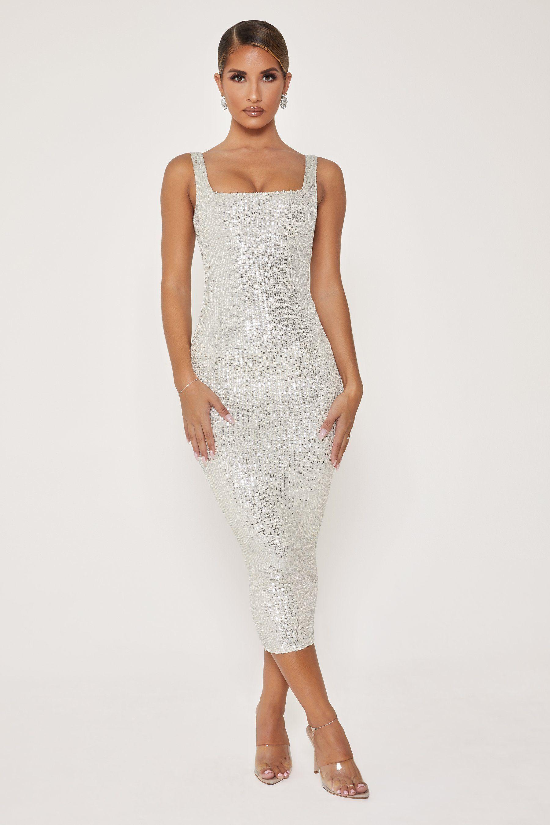 Blythe Sequin Square Neck Midi Dress Silver Meshki Dresses Silver Dress Party Dress [ 2700 x 1800 Pixel ]
