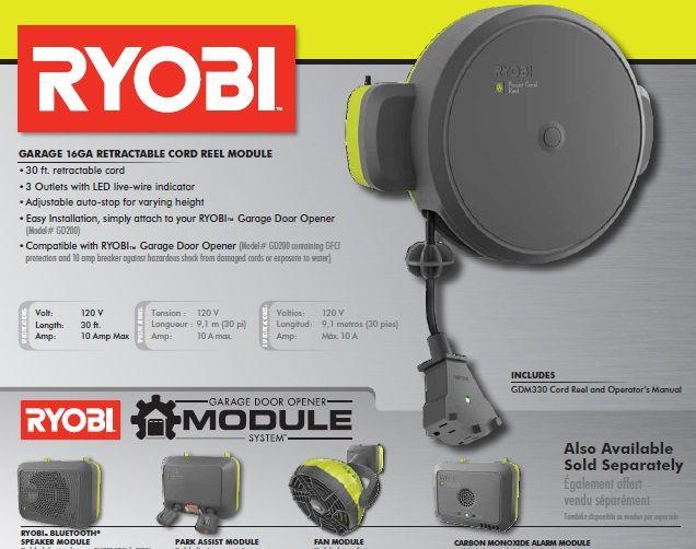 Ryobi Garage Retractable Cord Reel Accessory Gdm330 Retractable