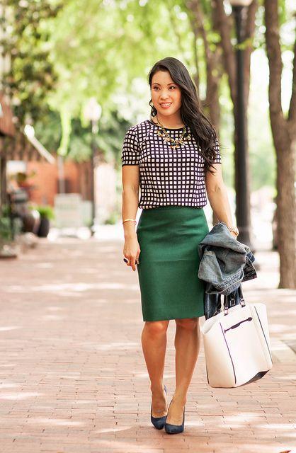 73febd213e54 cute & little blog | petite fashion | windowpane silk shirt, green pencil  skirt, denim jacket, navy pumps, statement necklace