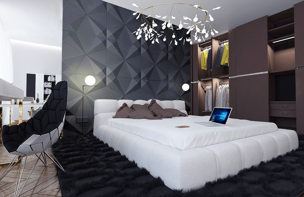 bedroom contemporary black wooden bedroom furniture design ideas black stained wooden bed frames beside black cabinet with mirror and brick wall brown - Black And White Bedroom Interior