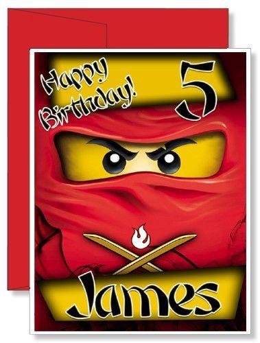 Personalized Birthday Greeting Card Lego Ninjago Birthday Greeting