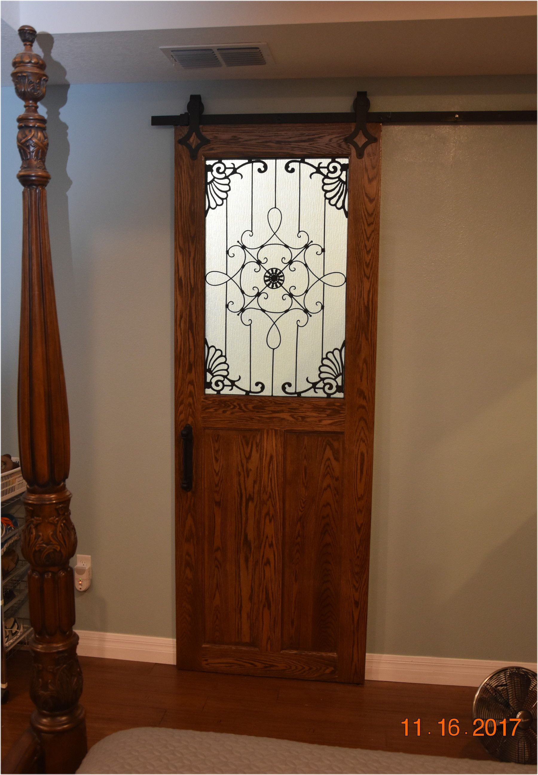 Solid Oak 180 Pound Barn Door With Wrought Iron And Rain